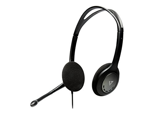 V7 HA202-2EP Stereo Headset (1x 3,5mm Klinke, Noise Cancelling, omnidirektionales Mikrofon 270 Grad) schwarz High-performance-video-splitter