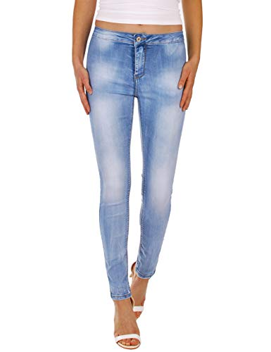 Fraternel Damen Jeans Hose Super Stretch Normal Waist Hellblau M / 38 -W30 - Low Rise Flare Stretch Jeans