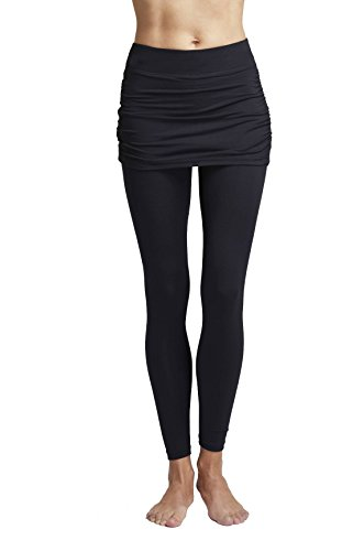 Women's Lightweight Gathered Skirt Leggings Black-X-Large (44) -