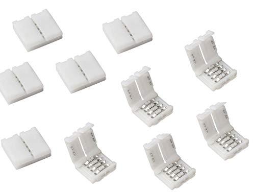 Cooligg 10x LED Verbinder RGB Steckverbinder 4 polig 10mm mit Clip vom DE Händler, für Led Streifen SMD 5050 Connector für Led Strips, LED Zubehör, Rechnung per Email