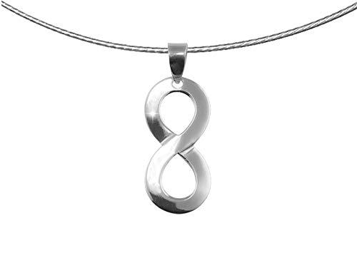 Papoly®, collana infinito in argento sterling 925, simbolo di forza e amore eterno, regalo, panno pulita 25x 10cm argento + catena in acciaio + confezione regalo.