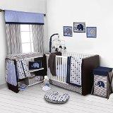 Elephants Blue/Grey 10 pc Crib Set Bumpe...