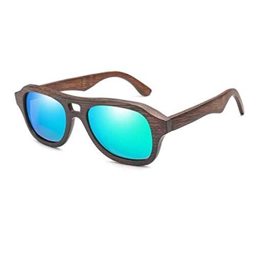 WENZHEN Square Design Holzrahmen-Sonnenbrille, leichtes Aquamarien