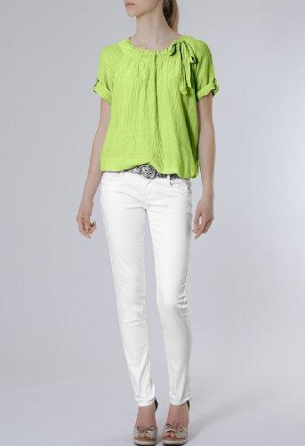 CASPAR Damen leichte unifarbene Kurzarm Seiden Sommerbluse mit Schleife - viele Farben - BLU002 Grün