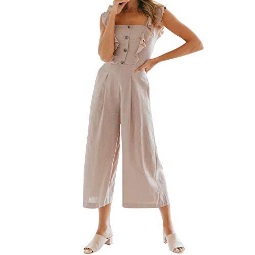 DressLksnf Damen Volltonfarbe Button-Up Overall ärmellose Damen Jumpsuit Clubwear Weite Hosen Frauen Off-The-Shoulder-Overall Feste Overalls Breites Bein Lange Strampler Hose ()