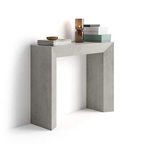 Mobili fiver giuditta, tavolo consolle, cemento, in legno, 90 x 30 x 75 cm