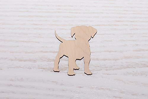 10er Set Holz Welpe Hund Sperrholz Laser geschnitten, Holz Cutout, Sperrholz Figur, Form Holz Ornamente Basteln Dekoration Decoupage unlackiert - 0331, 7cm -
