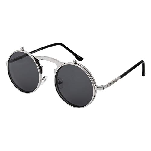 Silber mit Schwarzen Gläsern Flip Up Circle Steampunk Sonnenbrille Hochwertige Brille Retro Runde Cyber   Vintage Viktorianische Gotik UV400 UVA UVB Schutz Männer Frauen Unisex