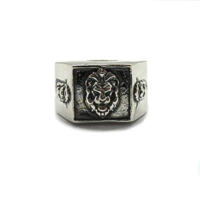 Bague pour homme en argent sterling massif 925 Lion R001882