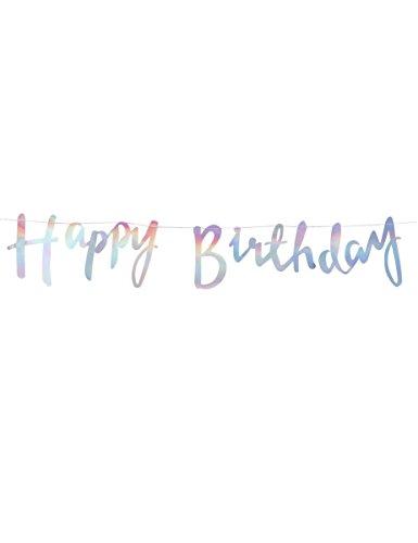 Iridescent Party - Iridescent Script Happy Birthday Bunting