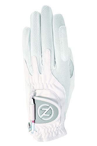 Zero Friction Null Reibung Damen-Compression-fit Synthetik Golf Handschuhe, Universal Fit One Size, Damen, weiß, Einheitsgröße -