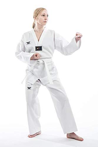 Traje de taekwondo marca Tusah para principiantes, TKD Dobok, traje de artes marciales aprobado por la Federación Mundial de Taekwondo, color Blanco, tamaño 150