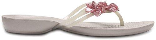 crocs Damen Isabella Embellished Sandalen Flipflops, Pink (Candy Pink) Platinum/Platinum