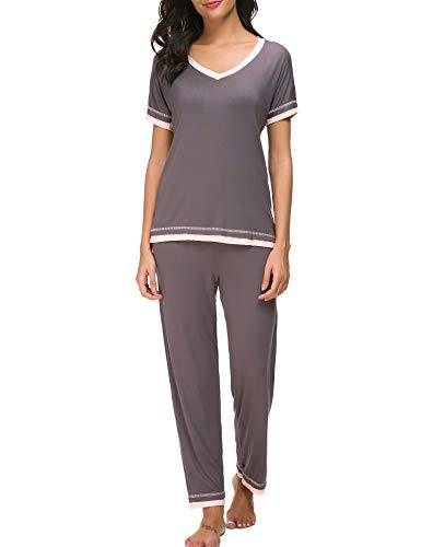 Dolay Damen pyjama sets weiche nachtwäsche 2st loungwear pjs top X-Large Grau - Kurze Pyjamas Pjs