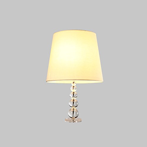 Nordic Country Kind Crystal Stack Tischleuchte, American einfache Tuch Kunst Schlafzimmer Nacht Wohnzimmer Luxus E27 dekoratives Licht (Beige) HUACANG (Size : S) -