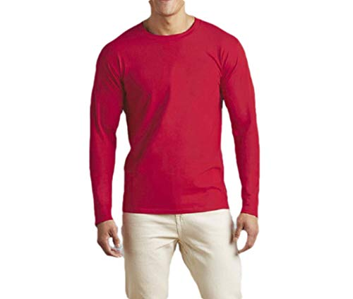 66936b76a88de CuteRose Men Solid Crewneck Long-Sleeve Slim Fit Pullover Relaxed Shirts  Tops Red L