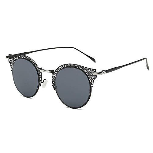 Easy Go Shopping Frauen Sonnenbrille Runde Retro Cat-Eyed Mesh-Einstellung Metallrahmen-Laufwerk mit Sonnenbrille, um UV-Sonnenbrille zu verhindern (Farbe : Schwarz)