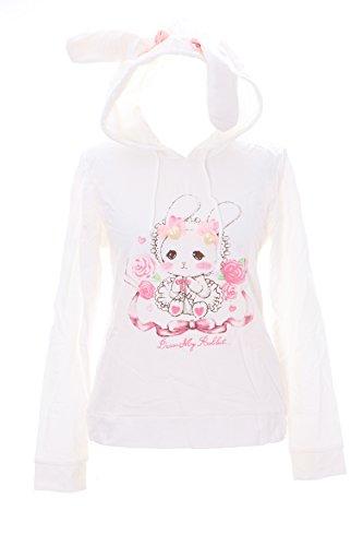 Preisvergleich Produktbild TS-61 Gr. 152 Rabbit Hase Schleife Weiß Cute Pastel Goth Lolita Kapuzen-Sweatshirt Harajuku