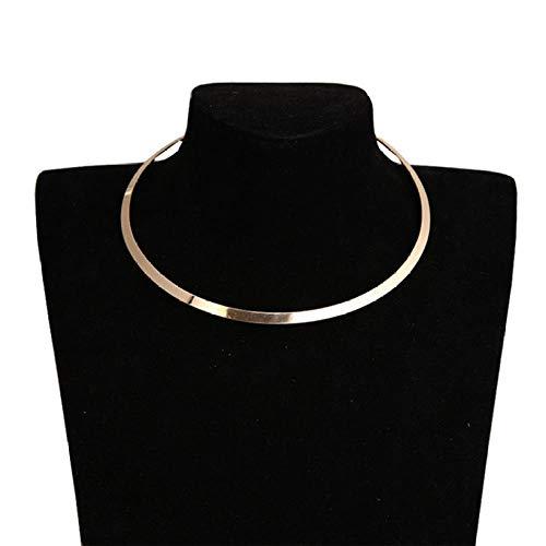 LJFSMM Circle Bright Metal Collar Punk Women Choker Necklace Fashion Short Blade Chain Necklace Torques Jewelry, Gold -
