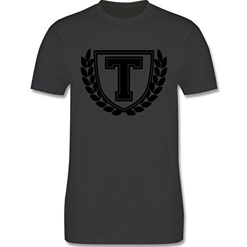 Anfangsbuchstaben - T Collegestyle - Herren Premium T-Shirt Dunkelgrau