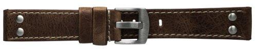 18mm Dunkelbraunes Uhrenarmband Lederarmband M41 Fliegerarmband im Vintage-Stil, weiße Steppnaht, Edelstahl Doppelnieten