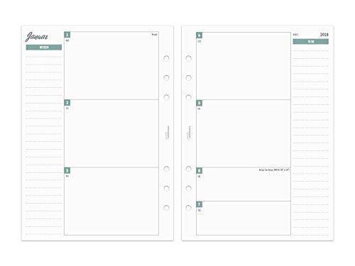 2018 A5 Kalender Einlagen 1W/2S - Zeilen, Notizen & ToDo - farbig