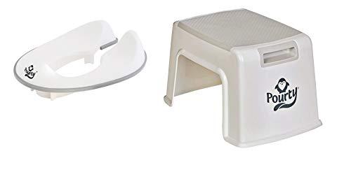 Pourty WC-Trainingskombination Grau - Flexi-fit Toilettensitz & Up Step Hocker -