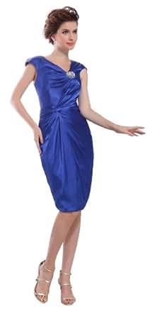 herafa p31310-8 Robes De Bal élégant Col V Sans manche Ruché Perles Délicates Au genou Gaine Bleu