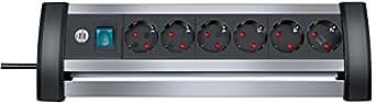 Brennenstuhl Alu-Office-Line, Steckdosenleiste 6-fach, für den Schreibtisch (mit Schalter und 3m Kabel) Farbe: alu / schwarz