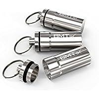 BMTick Mini Cendrier de Poche Portable Anti Odeurs, Capsule avec Système de Vis 5 Couches + Joint en Silicone (Pack de 3) (Argent)