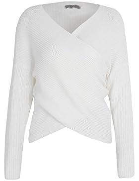 Simplee Apparel Autunno Spesso Wrap anteriore con scollo a V Stretch maglione ponticello delle donne