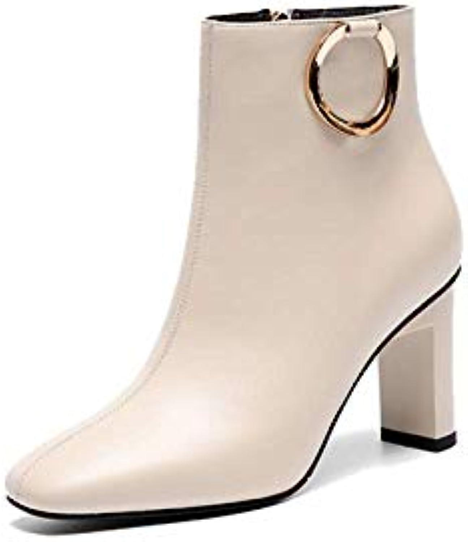 ZPEDY Chaussures pour Femmes, Style Européen, à Fermeture à Européen, Glissière, Bottillons, Tête Carrée, Talons Hauts, ModeB07JLRPN3GParent 88180f