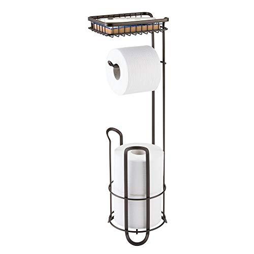 mDesign Toilettenpapierhalter ohne Bohren - Klorollenhalter fürs Badezimmer - Farbe: Bronze - Papierrollenhalter mit Bürste und Regal -