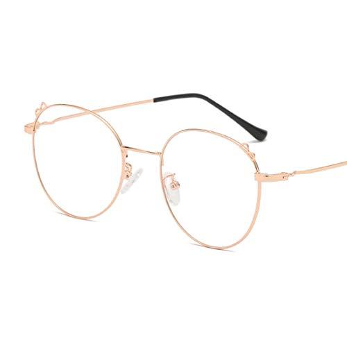 Sakuldes Brillenbrillen, rund, optischer Rahmen, klare Gläser, Unisex Rose-Gold