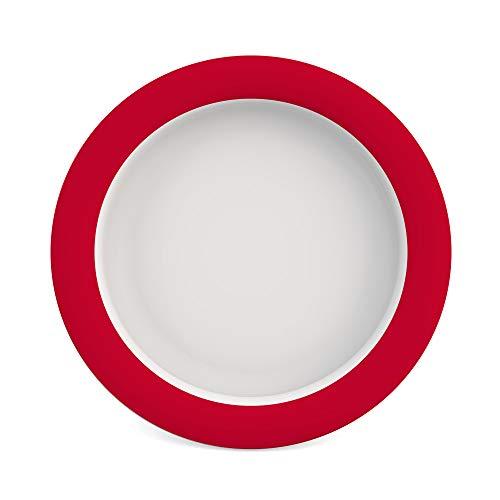 Ornamin Teller mit Kipp-Trick Ø 26 cm rot (Modell 901) / Spezialteller mit Randerhöhung, Anti-Rutsch-Teller Kunststoff