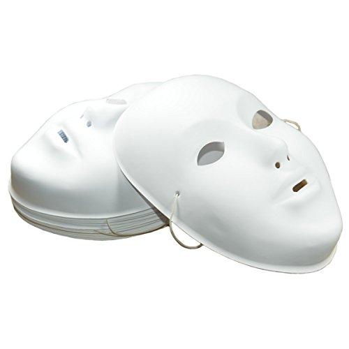 Piccolino Bastelbedarf 12 Masken blanko Kunststoff - Fasnachtsmasken für Kinder weiß zum Bemalen, 12 Stück