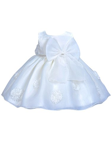 Happy Cherry Baby Süßes Kleid Taufkleid Babymädchen Kleider Kleine Prinzessin Kleid Ärmelloses Falten Kleid mit Schleife Größe 90 für die Körpergröße 86-95cm(21-26 Monate) - Weiß (Kleine Kleid Schleife)