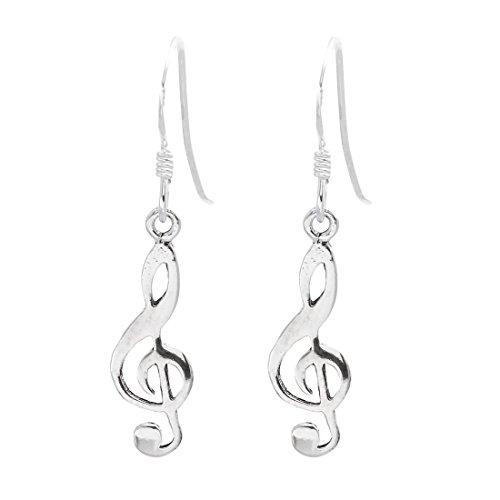 Silverly Frauen 925 Sterling Silber Violinschlüssel, Note, baumeln Ohrringe