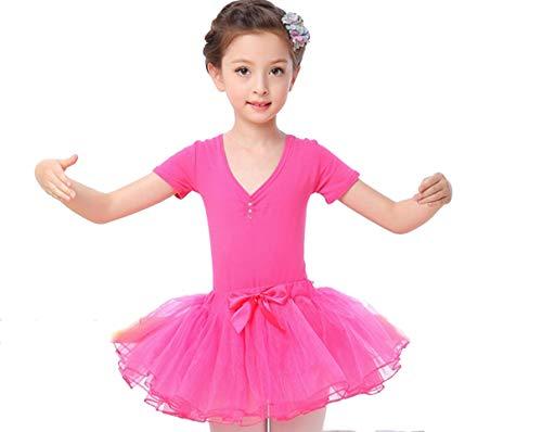 YZLL Tanzkostüme für Kinder, Ballettkleid für Kinder Kurzarm-Tutu,Red,100CM (Kinder Red Tutu)