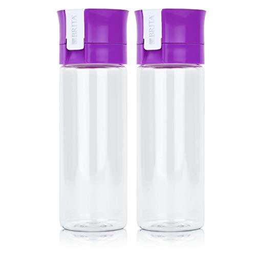 BRITA Wasserfilter-Flasche fill&go Vital Lila - Trinkflasche mit Wasserfilter aus BPA-freiem Kunststoff (2er Pack) - Brita-wasser Flasche Lila