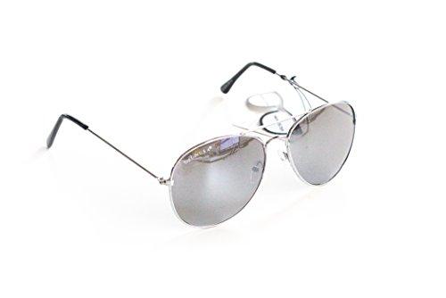 Piloten-Brille Sonnen-Brille Flieger-Brille Chrom Verspiegelt UV-Schutz 400 ca. 13,5 cm Breit Herren Damen Unisex Cosplay Trend-Brille Nerd-Brille Geek-Brille Chrome Silber Silver