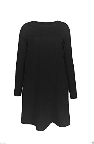 Robe Midi à manches longues Patineuse Swing en jersey évasé Thé Uni Femmes Noir