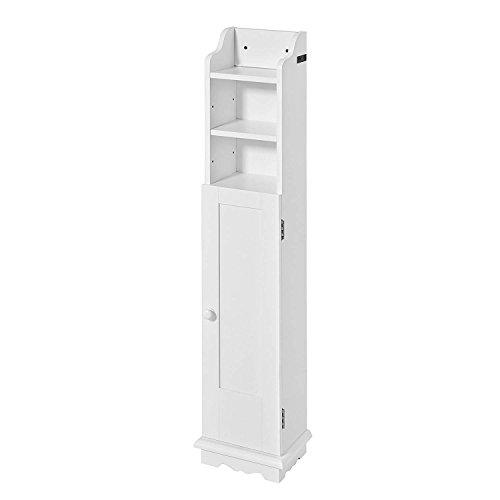 SoBuy® FRG177-W Freistehend weiß Toilettenrollenhalter Toilettenpapieraufbewahrung Badregal Standschrank BHT ca: 21x99x16cm