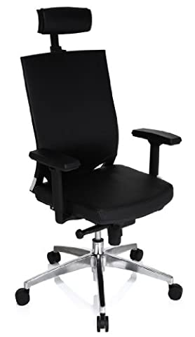 hjh OFFICE, 657511, Professional office chair, swivel chair, executive chair, ASTRA BASE, black, fabric, mesh, High end chair with ergonomic shaped mesh backrest and adjustable headrest, thick padded and wide contoured seat, adjustable armrests, adjustable seat