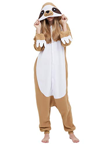 Jumpsuit Onesie Tier Karton Fasching Halloween Kostüm Sleepsuit Cosplay Overall Pyjama Schlafanzug Erwachsene Unisex Lounge Kigurumi Faultier for Höhe 140-187CM