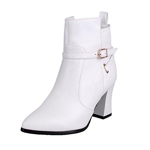 VogueZone009 Damen Niedrig-Spitze Reißverschluss Reißverschluss Hoher Absatz Stiefel Weiß