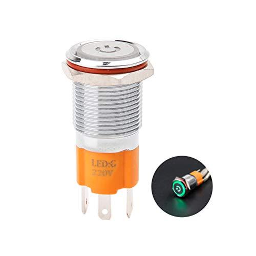 YoungerY Interruptor de botón de Metal de Bloqueo/Cierre automático con luz LED...