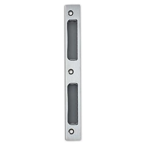 Premium Qualität M4TEC ZB8 Glänzendes Edelstahl-Winkel-Schließblech mit Kunststoffeinsatz - Robust, haltbar & einfach zu montieren - DIN R/L - Passend für eintourige Innenraum- & WC/Badschlösser