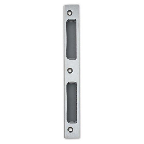 Premium Qualität M4TEC ZB8 Glänzendes Edelstahl-Winkel-Schließblech mit Kunststoffeinsatz - Robust, haltbar & einfach zu montieren - DIN R/L - Passend für eintourige Innenraum- & WC/Badschlösser -