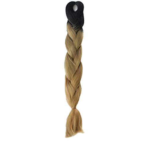 UQ Natte Tresse Extension de cheveux Perruque Synthétique Femme 100g 60cm Cosplay #14 Noir à marron